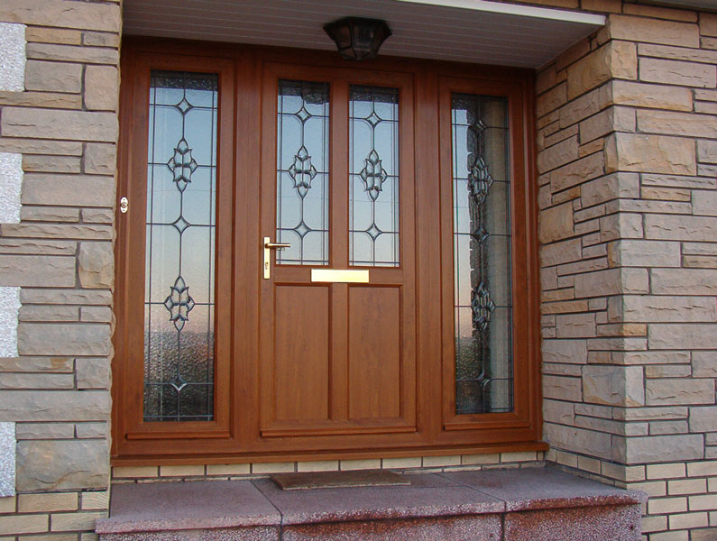 Light Oak Composite Front Door Part - 41: FCS PVCu (Crucifix) Door Set, Light Oak